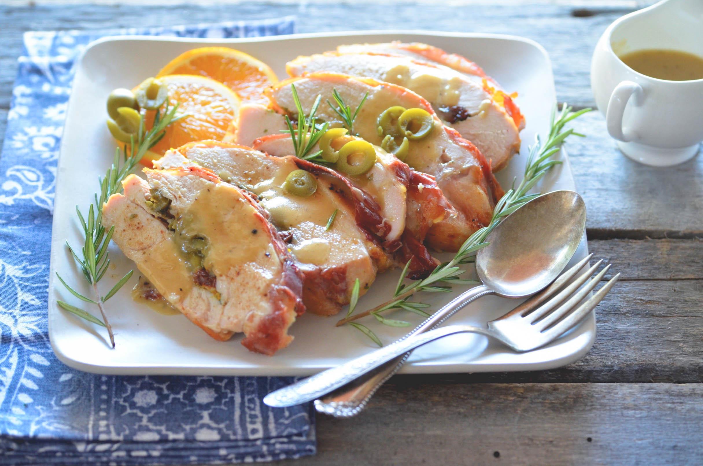Prosciutto Wrapped Turkey Breast with California Ripe Olives
